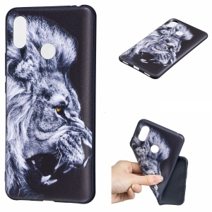 Pattern Printing Embossed TPU Cell Phone Case for Xiaomi Mi Max 3 Pro - Lion