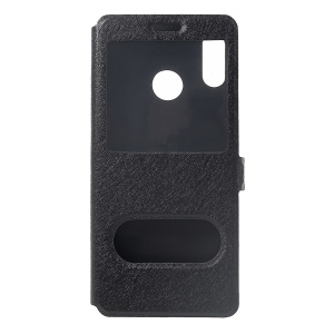 Silk Texture Dual Window PU Leather Phone Casing for Huawei nova 3 - Black