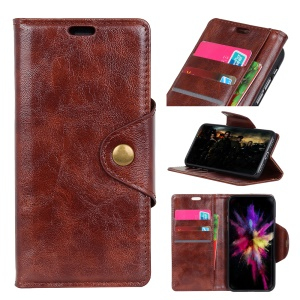 Textured PU Leather Wallet Stand Flip Phone Cover for Huawei Mate 20 Lite - Brown