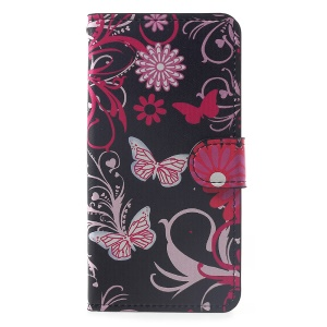 Patterned Leather Wallet Stand Accessory Case for Huawei Y5 (2018) / Y5 Prime (2018) / Honor 7s / Play 7 - Butterfly and Flower