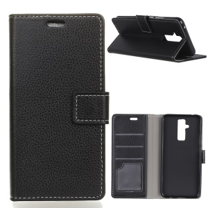 Litchi Texture Wallet Stand Magnetic Leather Mobile Shell Case for Huawei Mate 20 Lite / Maimang 7 - Black