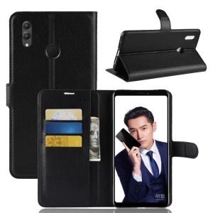 Litchi Skin Leather Wallet Casing for Huawei Honor Note 10 - Black