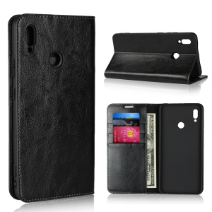 For Huawei Honor Note 10 Crazy Horse Genuine Leather Wallet Casing with Stand - Black