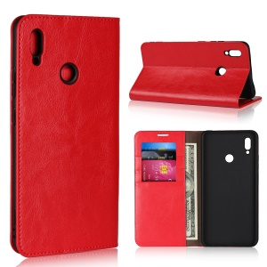 For Huawei Honor Note 10 Crazy Horse Genuine Leather Wallet Case with Stand - Red