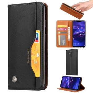Auto-absorbed Leather Wallet Case for Huawei Mate 20 Lite - Black
