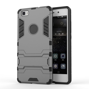 PC TPU Phone Case for Huawei Ascend P8 Lite with Kickstand - Grey