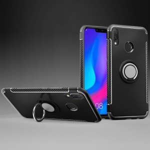 Carbon Fiber Texture TPU PC Combo Case for Huawei nova 3i/P Smart+ with Magnetic Ring Holder Kickstand - Black