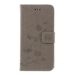 Imprint Butterfly Flowers Leather Stand Wallet Folio Cover for Huawei Mate 20 Lite - Grey