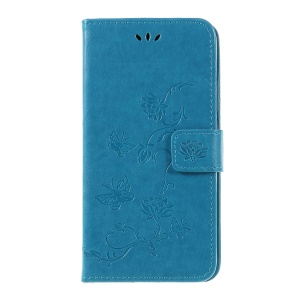Imprint Workmanship Butterfly Flowers Leather Stand Wallet Folio Case for Huawei Mate 20 Lite - Blue