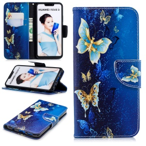 Patterned PU Leather Wallet Stand Case Cover for Huawei nova 3i / P Smart+ - Gold and Blue Butterfly