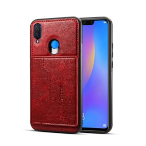 Crazy Horse Leather Coated PC TPU Hybrid Cover [Card Holder Kickstand] for Huawei nova 3i / P Smart Plus - Red