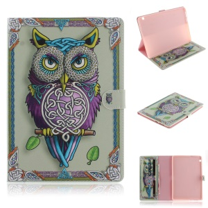 Pattern Printing [Stand Wallet] [Automatic Wake up / Sleep] Leather Tablet Shell for Huawei MediaPad T3 10 - Owl Pattern