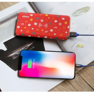 IDMIX P8 8000mAh Qi Wireless Charging Power Bank with QC3.0 Quick Charge for iPhone X/8/8 Plus etc. - Xmas Elements