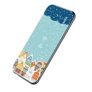 IDMIX P8 Portable 8000mAh Qi Wireless Charging Power Bank with QC3.0 Quick Charge for iPhone X/8/8 Plus etc. - Snow and House