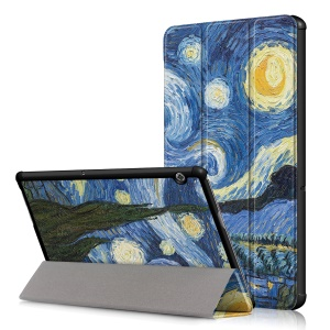 Patterned Leather Tri-fold Stand Protection Shell for Huawei MediaPad T5 10 - Starry Night Oil Painting