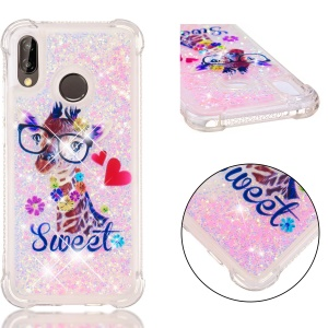 Dynamic Glitter Powder Heart Shaped Sequins TPU Shockproof Shell for Huawei P20 Lite / Nova 3e - Giraffe
