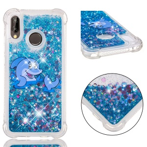 Dynamic Glitter Powder Heart Shaped Sequins TPU Shockproof Cover Shell for Huawei P20 Lite / Nova 3e - Dolphin