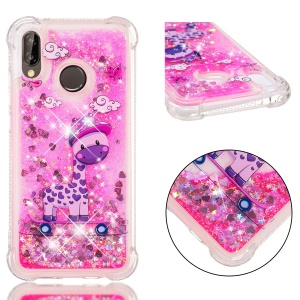 Dynamic Glitter Powder Heart Shaped Sequins Shockproof TPU Back Case for Huawei P20 Lite / Nova 3e - Horse