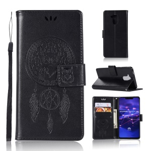 Imprint Owl Dream Catcher Wallet Stand Leather Cover for Huawei Mate 20 Lite - Black
