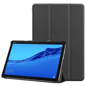 Tri-fold Stand Leather Protection Cover for Huawei Mediapad C5 10 / M5 Lite 10 - Black