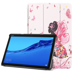 For Huawei Mediapad C5 10 / M5 Lite 10 Pattern Printing Leather Tri-fold Stand Tablet Case - Colorful Butterfly Girl
