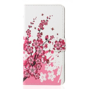 Pattern Printing PU Leather Stand Flip Cover for Huawei Mate 20 Lite - Peach Blossom