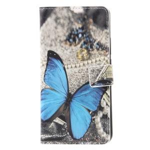Pattern Printing PU Leather Wallet Phone Accessory Case for Huawei Mate 20 Lite - Blue Butterfly