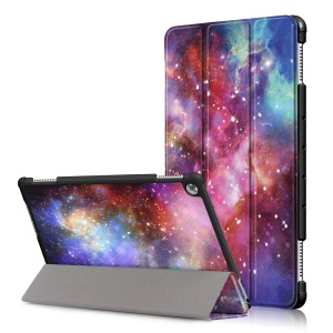 Pattern Printing Tri-fold Stand Leather Shell Cover for Huawei Mediapad C5 10 / M5 Lite 10 - Starry Sky