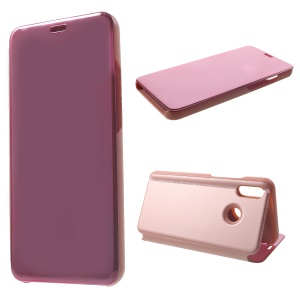 Electroplating Mirror Surface View Window Leather Stand Case for Huawei nova 3 - Rose Gold