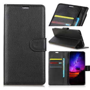 Litchi Skin Wallet Leather Stand Case for Huawei Mate 20 - Black