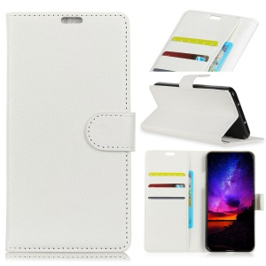 Litchi Skin Wallet Leather Stand Cover for Huawei Mate 20 Pro - White