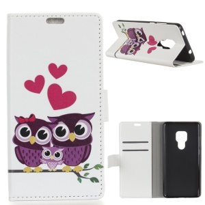 Pattern Printing Wallet Leather Phone Case for Huawei Mate 20 - Owls and Hearts