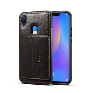 Crazy Horse Leather Coated PC TPU Hybrid Case with Card Slot and Kickstand for Huawei nova 3 - Black