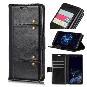 Crazy Horse Rivet Stand Wallet Magnetic Leather Protective Casing for Huawei Mate 20 - Black