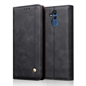 Auto-absorbed Retro Crazy Horse PU Leather Wallet Stand Phone Casing for Huawei Mate 20 Lite - Black