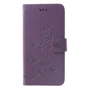 Imprint Butterfly Flowers Leather Stand Wallet Folio Protective Case for Huawei Mate 20 - Light Purple