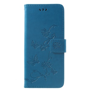 Imprint Butterfly Flowers Leather Stand Wallet Folio Cell Phone Cover for Huawei Mate 20 Pro - Blue