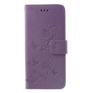 Imprint Butterfly Flowers Leather Stand Wallet Folio Protective Case for Huawei Mate 20 Pro - Light Purple