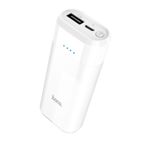 HOCO B35A Portable 5200mAh External Battery Charger Power Bank with LED Indicator - White