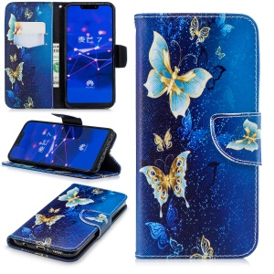 For Huawei Mate 20 Lite / Maimang 7 Patterned Wallet Magnetic Leather Cellphone Cover with Stand - Gold and Blue Butterfly