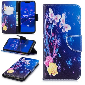 For Huawei Mate 20 Lite / Maimang 7 Patterned Wallet Magnetic Leather Shell Case with Stand - Crystal Butterfly and Flower