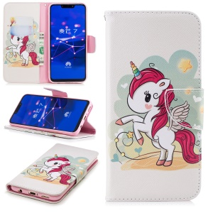 Pattern Printing Wallet Stand Leather Casing for Huawei Mate 20 Lite / Maimang 7 - Unicorn