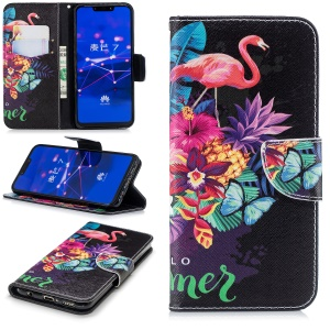 Pattern Printing Wallet Stand Leather Mobile Case for Huawei Mate 20 Lite / Maimang 7 - Flamingo and Pineapple