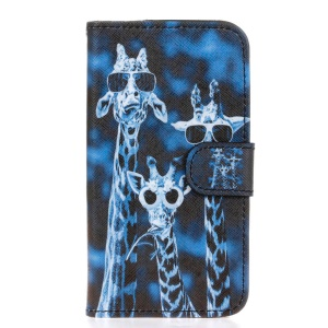 Leather Wallet Stand Shell for Huawei Y5 Y560 - Giraffe Family