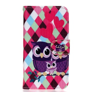 Leather Wallet Stand Case for Huawei Y5 Y560 - Sweet Owl Family