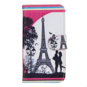 Leather Wallet Stand Case for Huawei Y5 Y560 - Eiffel Tower and Lover