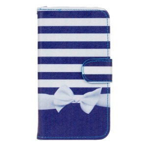Leather Wallet Stand Flip Case for Huawei Y5 Y560 - Stripes and Bowknot
