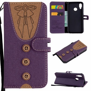 For Huawei P20 Lite / Nova 3e (China) [Imprint Women Bow-tie] [Button Decor] Splicing Leather Protective Phone Casing - Purple