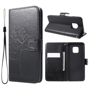 Imprint Tree Owl Magnetic Wallet PU Leather Case with Stand for Huawei Mate 20 Pro - Black