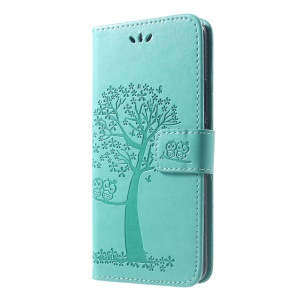 Imprint Tree Owl Magnetic Wallet PU Leather Phone Shell with Stand for Huawei Mate 20 Pro - Cyan